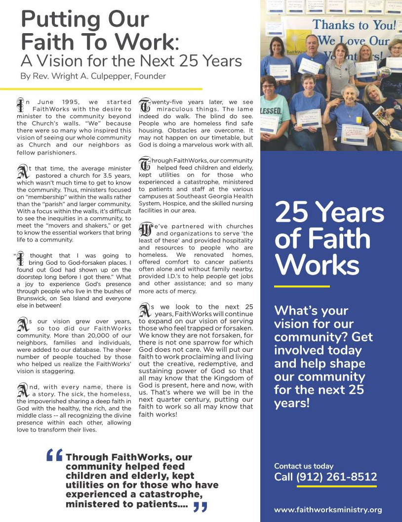 Putting Our Faith to Work, A Vision for the Next 25 Years